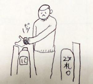 改札を通る人の絵の画像
